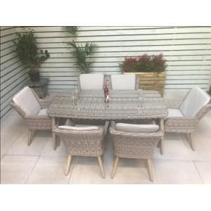 Signature Weave Garden Furniture Danielle 6 Seater Retro Rectangular Dining Set