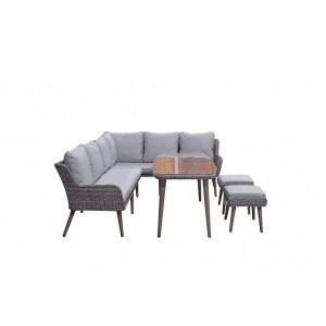 Signature Weave Garden Furniture Danielle Corner Dining Sofa Set with Ottomans