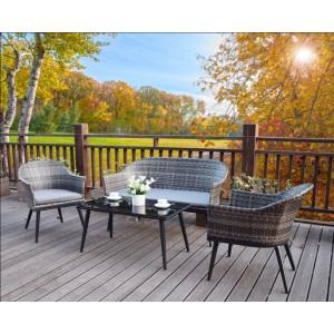 Signature Weave Garden Furniture Della Grey 4 Seater Sofa Set With Coffee Table