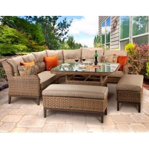 Signature Weave Garden Furniture Diana Corner Dining Sofa With Stools