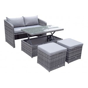 Signature Weave Garden Furniture Gemma Grey Stacking Compact Sofa Dining Set