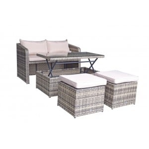 Signature Weave Garden Furniture Gemma Brown Nature Stacking Compact Sofa Dining Set