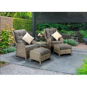 Signature Weave Garden Furniture Meghan 5 Piece Creamy Grey Reclining Lounge Set