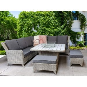 Signature Weave Garden Furniture Meghan Grey Corner Dining Sofa with Fire Pit