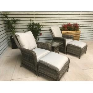 Signature Weave Garden Furniture Mia Grey High Back Armchair Lounge Set