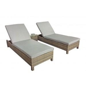 Signature Weave Garden Furniture Sarena Nature Sunbeds and Side Table Set