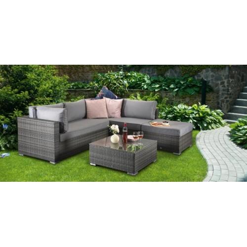 Signature Weave Garden Furniture Savannah Grey Corner Lounge Set with Coffee Table