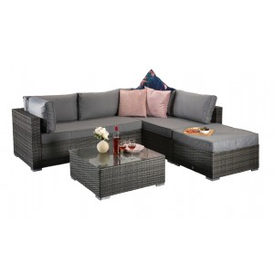 Signature Weave Garden Savannah Grey Corner Lounge Set with Coffee Table