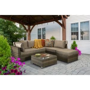 Signature Weave Garden Furniture Savannah Brown Nature Corner Lounge Set - PRE ORDER