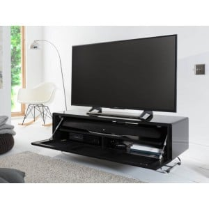 Alphason Furniture Chromium Concept Black TV Stand with Speaker Mesh Front