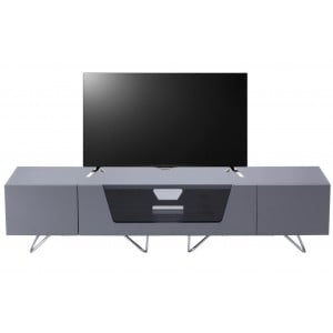 Alphason Furniture Chromium Cab Grey Glass Top TV Cabinet