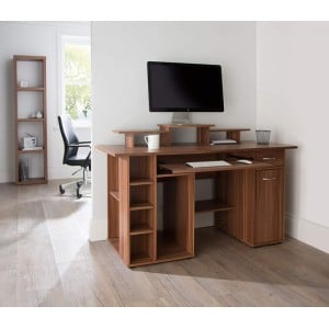 Alphason Office Furniture San Diego Walnut Work Centre
