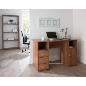 Alphason Office Furniture Maryland Walnut Effect Computer Workstation