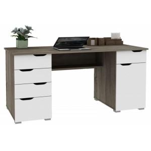 Alphason Office Furniture Kentucky Dark Oak and White Gloss Desk
