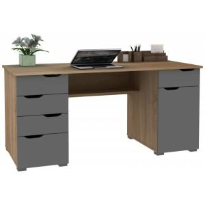 Alphason Office Furniture Kentucky Light Oak And Grey Gloss Desk