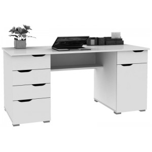 Alphason Office Furniture Kentucky White Oak and Gloss White Desk