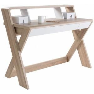 Alphason Office Furniture Aspen Light Oak and White Trestle Desk