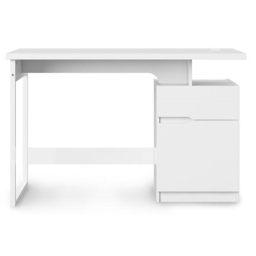 Alphason Office Furniture Bridport Glossy White Computer Desk