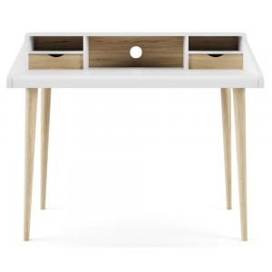 Alphason Office Furniture Yeovil White and Light Oak Writing Desk
