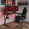 Alphason Furniture Phantom Black and Red Carbon Fibre Effect Gaming Desk