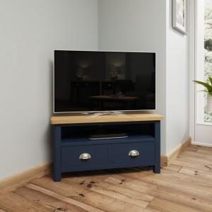 Wittenham Blue Painted Furniture Corner TV Unit