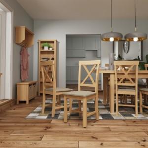 Buxton Rustic Oak Furniture Cross Back Dining Chair (Pair)