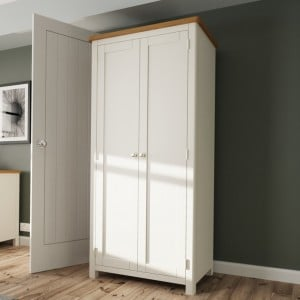 Wittenham Grey Painted Furniture 2 Door Full Hanging Wardrobe