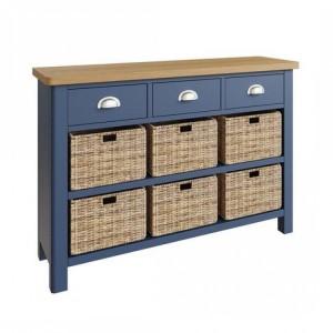 Wittenham Painted Furniture Blue Painted 3 Drawer 6 Basket Cabinet