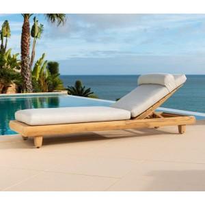 Alexander Rose Sorrento Garden Furniture Natural Sunbed With Wheels
