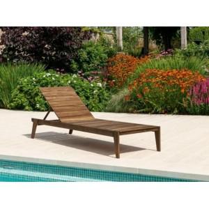 Alexander Rose Sherwood Garden Furniture Brown Slatted Adjustable Sunbed