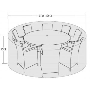 Signature Weave Garden Furniture 8 Seat Round Dining Set Cover