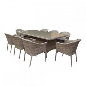 Signature Weave Garden Furniture Darcey 8-Seat Rectangular Dining Set