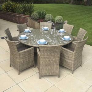 Signature Weave Garden Furniture Darcey 8-Seat Round Dining Set
