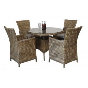 Signature Weave Garden Furniture Darcey 4-Seat Round Dining Set