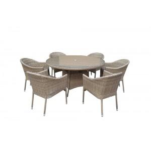Signature Weave Garden Furniture Darcey 6-Seat Round Dining Set
