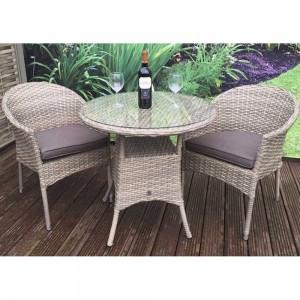 Signature Weave Garden Furniture Darcey Bistro Set with 2 Round Armchair