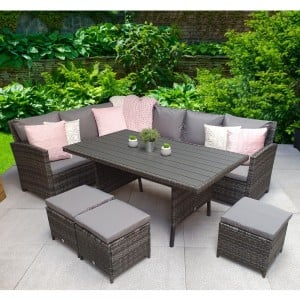 Signature Weave Garden Furniture Charlotte Grey Corner Dining Sofa Set