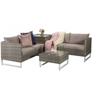 Signature Weave Garden Furniture Lucy Grey Corner sofa with Storage Box Table