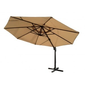 Signature Weave Garden Furniture 3.5m Round Cantilever Parasol with Beige Canopy