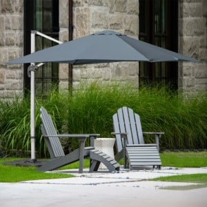 Signature Weave Garden Furniture 3m Square Cantilever Parasol with Grey Canopy