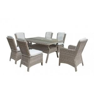 Signature Weave Garden Furniture Alexandra Grey Rectangular 6 Seat Dining Set