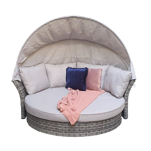 Signature Weave Garden Furniture Rattan Lily Grey Modular daybed with sunroof