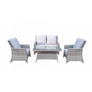Signature Weave Garden Furniture Sarah Rattan Grey 4-Seater Sofa Set with High Coffee Table