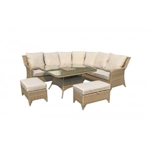 Signature Weave Garden Furniture Sarah Rattan Nature Corner Sofa + 2 Stools Dining Set with Ice Bucket