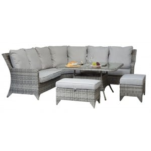 Signature Weave Garden Furniture Sarah Rattan Grey Corner Sofa + 2 Stools Dining Set with Ice Bucket