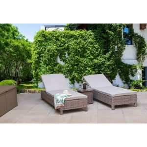 Signature Weave Garden Furniture Sarena Grey Alexandra Weave Sunbed