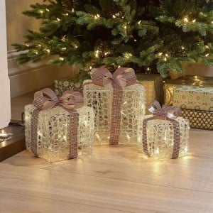 Soft Acrylic Set of 3 Red Bow Small Christmas Parcels