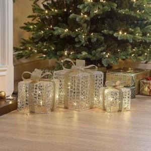 Nova Garden TWW Soft Acrylic Set of 3 Gold Bow Small Christmas Parcels