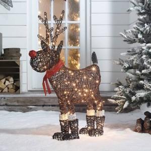 Rattan Christmas Rudolph Figure