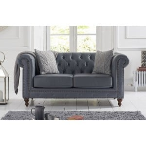 Mark Harris Montrose Furniture Grey Leather 2 Seater Sofa